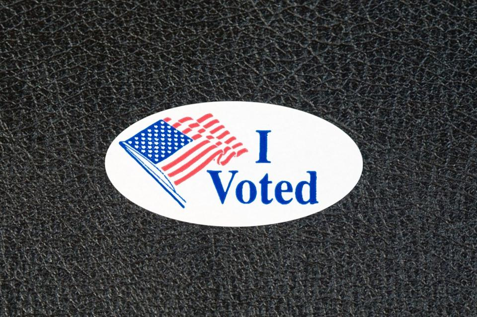 i voted sticker on the table