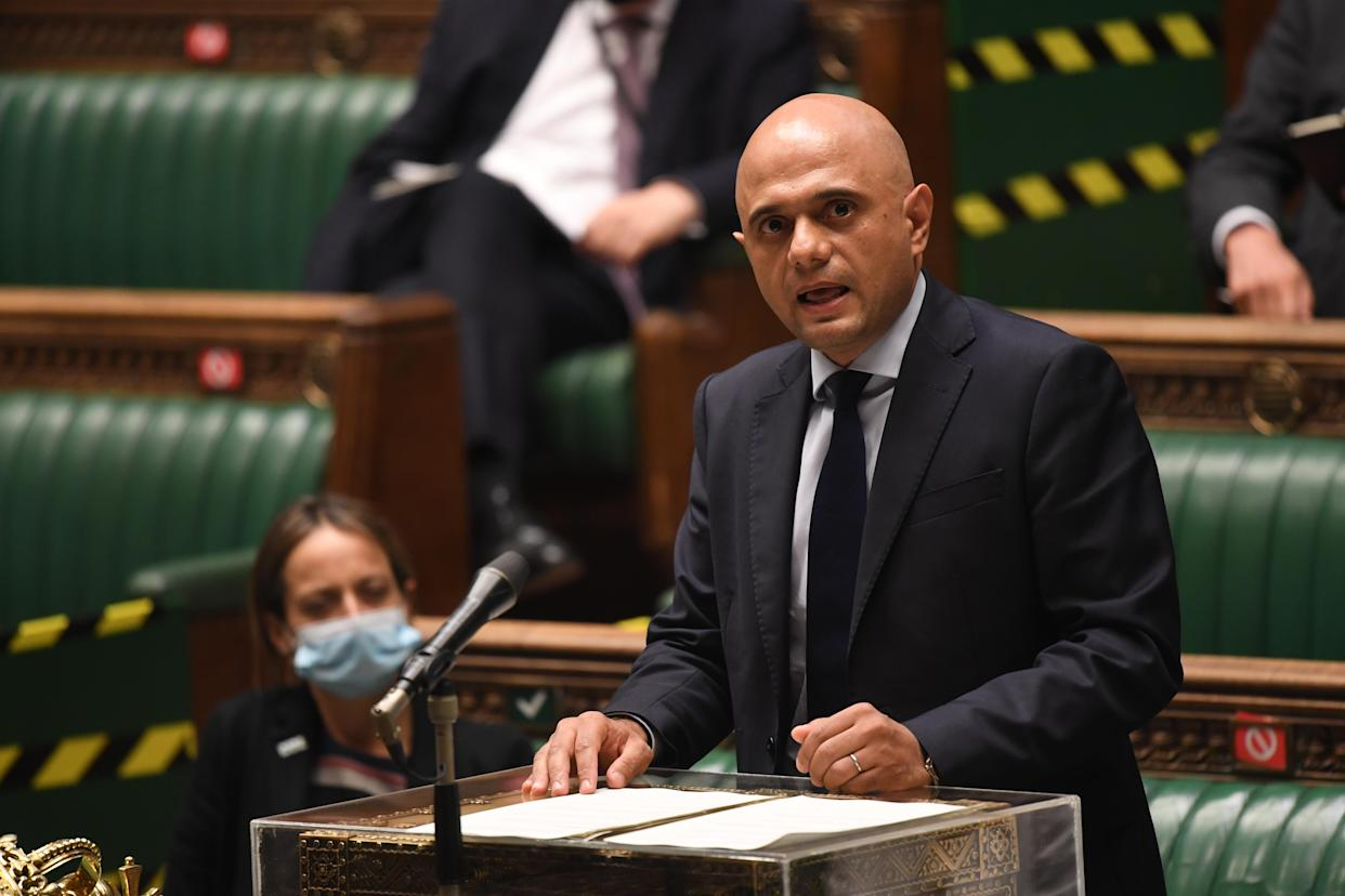 Sajid Javid has set out changes to self-isolation rules for double-jabbed contacts. (UK Parliament/Jessica Taylor/PA)