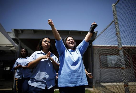Mothers watch their children arrive to visit at California Institute for Women state prison in Chino, California May 5, 2012.