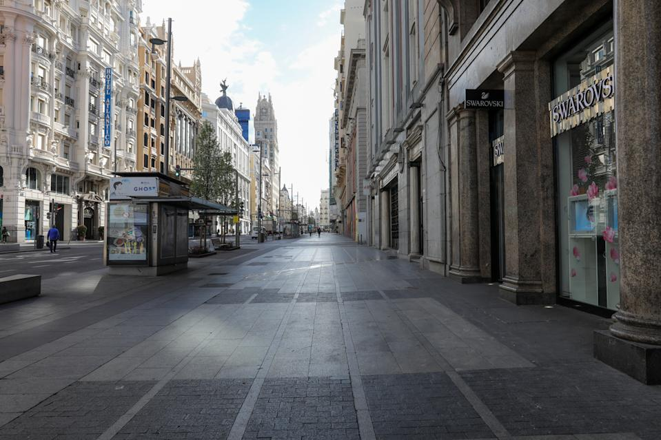 MADRID, SPAIN - MARCH 16: Gran Via Street of Madrid is seen empty on the third day of the state of alarm, announced on Friday 13th and implemented on Saturday 14th, due to the coronavirus outbreak, on March 16, 2020 in Madrid, Spain. (Photo by Jesus Hellin/Europa Getty Images)  (Photo by Europa Press News/Europa Press via Getty Images)