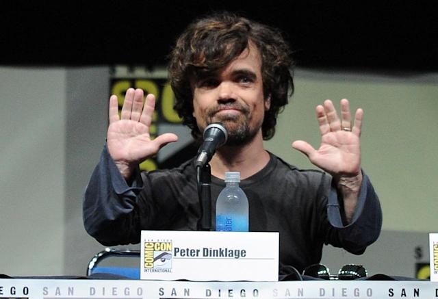 "Peter Dinklage speaks onstage during the ""Game of Thrones"" panel at Comic-Con International 2013 at San Diego Convention Center on July 19, 2013 in San Diego, California."