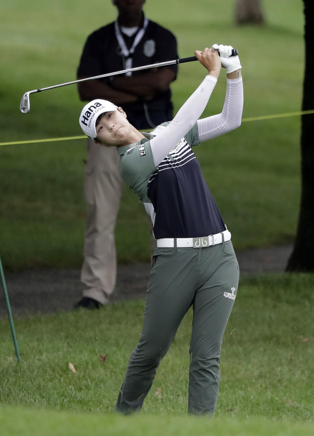 Sung Hyun Park, of South Korea, hits to the sixth green during the second round of the Indy Women in Tech Championship golf tournament, Friday, Aug. 17, 2018, Indianapolis. (AP Photo/Darron Cummings)