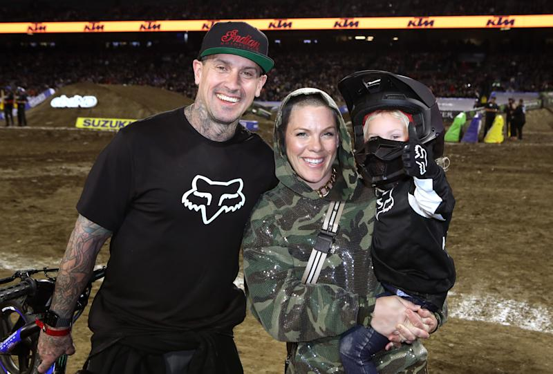 Carey Hart, P!nk and Jameson Moon Hart attend the Monster Energy Supercross VIP Event at Angel Stadium on January 18, 2020 in Anaheim, California. (Photo by Ari Perilstein/Getty Images for Feld Entertainment, Inc.)