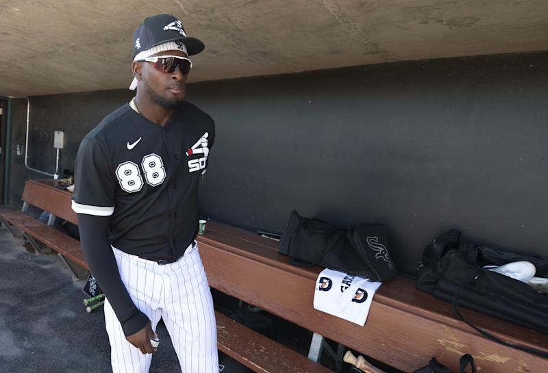 GLENDALE, ARIZONA - MARCH 09: Luis Robert #88 of the Chicago White Sox looks on prior to the game against the Cincinnati Reds on March 9, 2020 at Camelback Ranch in Glendale Arizona. (Photo by Ron Vesely/Getty Images)