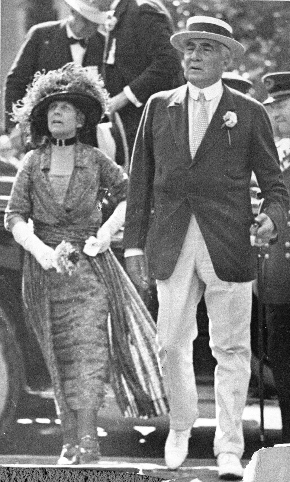 FILE-This July 4, 1923 file photo shows the 29th President of the United States, Warren G. Harding, and his wife, first lady Florence Kling Harding. The centennial of President Warren G. Harding's election was marked Monday in his home county in Ohio with a modest radio tribute rather than the grand museum and homestead re-opening envisioned before the pandemic. Harding, a Republican, was elected Nov. 2, 1920, his 55th birthday, succeeding Democrat Woodrow Wilson. He beat a fellow Ohio newspaper publisher, James Cox, on a platform of restoring normalcy after World War I and the 1918 influenza pandemic. (AP Photo, File)
