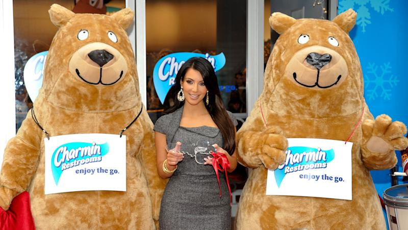 Television personality Kim Kardashian helps to officially open Charmin's deluxe free public restrooms in Times Square on Tuesday, Nov. 23, 2010 in New York. (AP Photo/Evan Agostini)