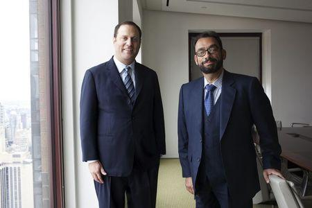 Platinum Partners' Mark Nordlicht and Uri Landesman pose in their New York offices