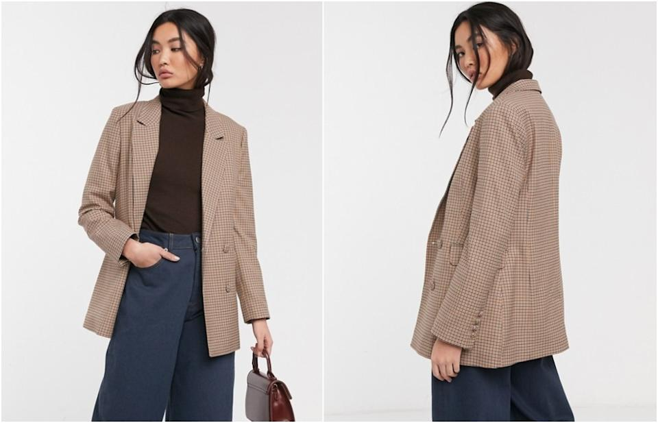 Selected Femme double breasted blazer in tan check