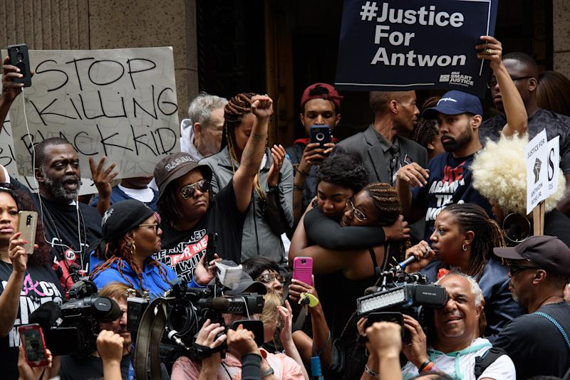Hundreds of people gathered for a rally to protest the fatal shooting of the unarmed black teen in Pittsburgh on Thursday.
