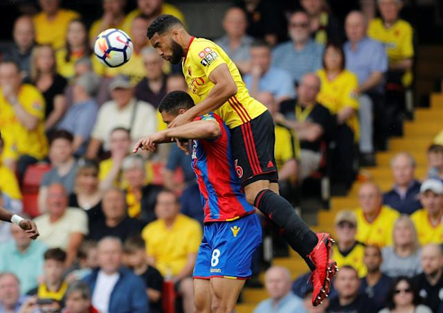 """Soccer Football - Premier League - Watford v Crystal Palace - Vicarage Road, Watford, Britain - April 21, 2018 Watford's Adrian Mariappa in action with Crystal Palace's Ruben Loftus-Cheek REUTERS/Darren Staples EDITORIAL USE ONLY. No use with unauthorized audio, video, data, fixture lists, club/league logos or """"live"""" services. Online in-match use limited to 75 images, no video emulation. No use in betting, games or single club/league/player publications. Please contact your account representative for further details."""