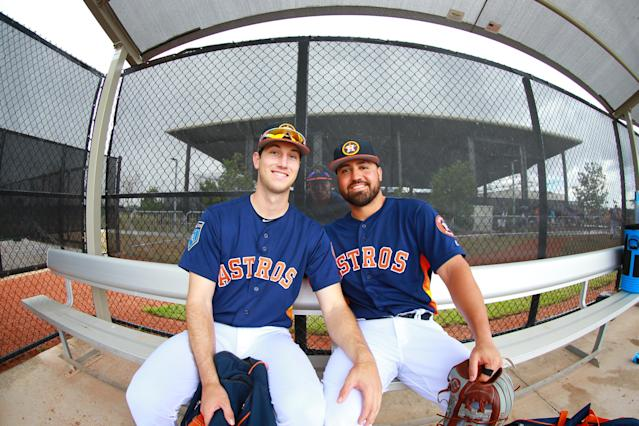 <p>Houston Astros Kyle Tucker and Jack Mayfield pose for a photo while Myles Straw provides the photobomb after workouts at the Ballpark of the Palm Beaches in West Palm Beach, Fla., on Feb. 26, 2018. (Photo: Gordon Donovan/Yahoo News) </p>