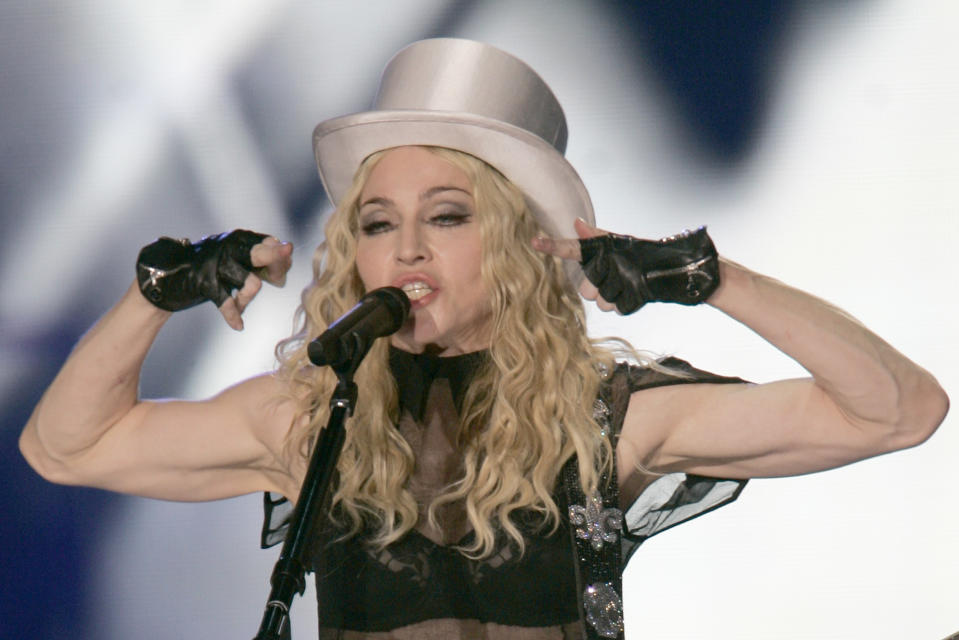 Pop star Madonna performs during her