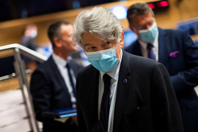 European Union Internal Market Commissioner Thierry Breton leaves after an online news conference at the EU headquarters in Brussels