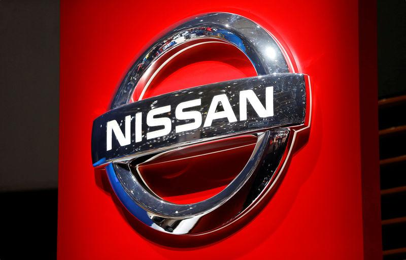 FILE PHOTO: A Nissan logo is displayed at the 89th Geneva International Motor Show in Geneva