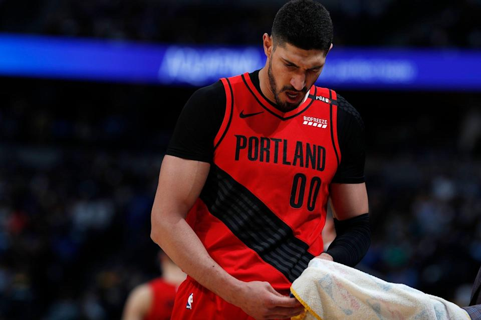 Portland Trail Blazers center Enes Kanter (00) in the second half of Game 2 of an NBA basketball second-round playoff series Wednesday, May 1, 2019, in Denver. Portland won 97-90. (AP Photo/David Zalubowski)