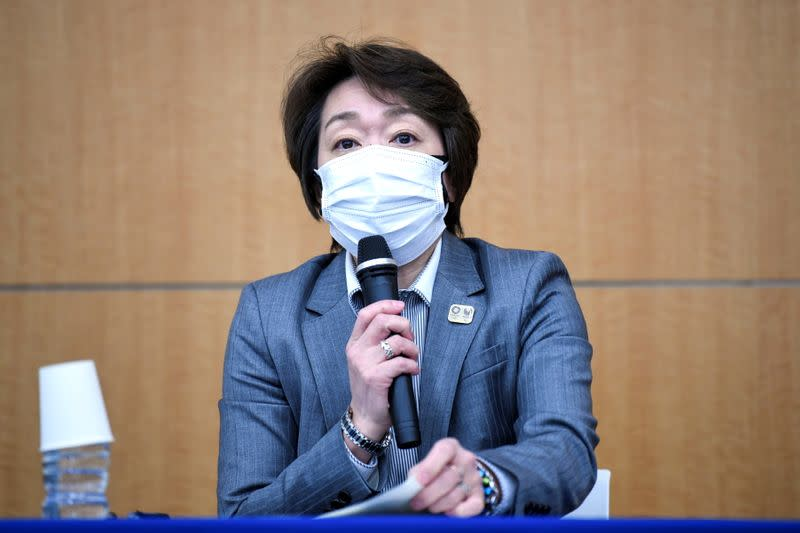 Tokyo 2020 President Seiko Hashimoto speaks during a news conference regarding the report of a Japanese weekly magazine, in Tokyo, Japan