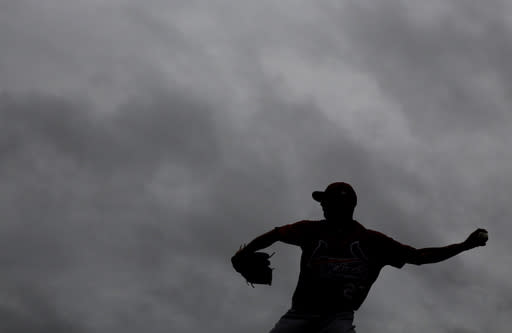 St. Louis Cardinals pitcher Brett Cecil throws a bullpen session in the rain as clouds hang overhead during spring training baseball practice Wednesday, Feb. 13, 2019, in Jupiter, Fla. (AP Photo/Jeff Roberson)
