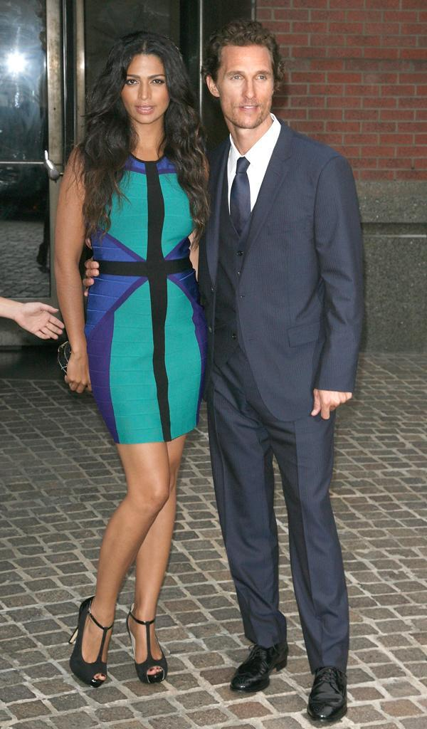 "NEW YORK, NY - JULY 23: Camilla Alves and actor Matthew McConaughey attend The Cinema Society with Bally & DeLeon screening of LD Entertainment's ""Killer Joe"" at the Tribeca Grand Hotel on July 23, 2012 in New York City. (Photo by Jim Spellman/WireImage)"