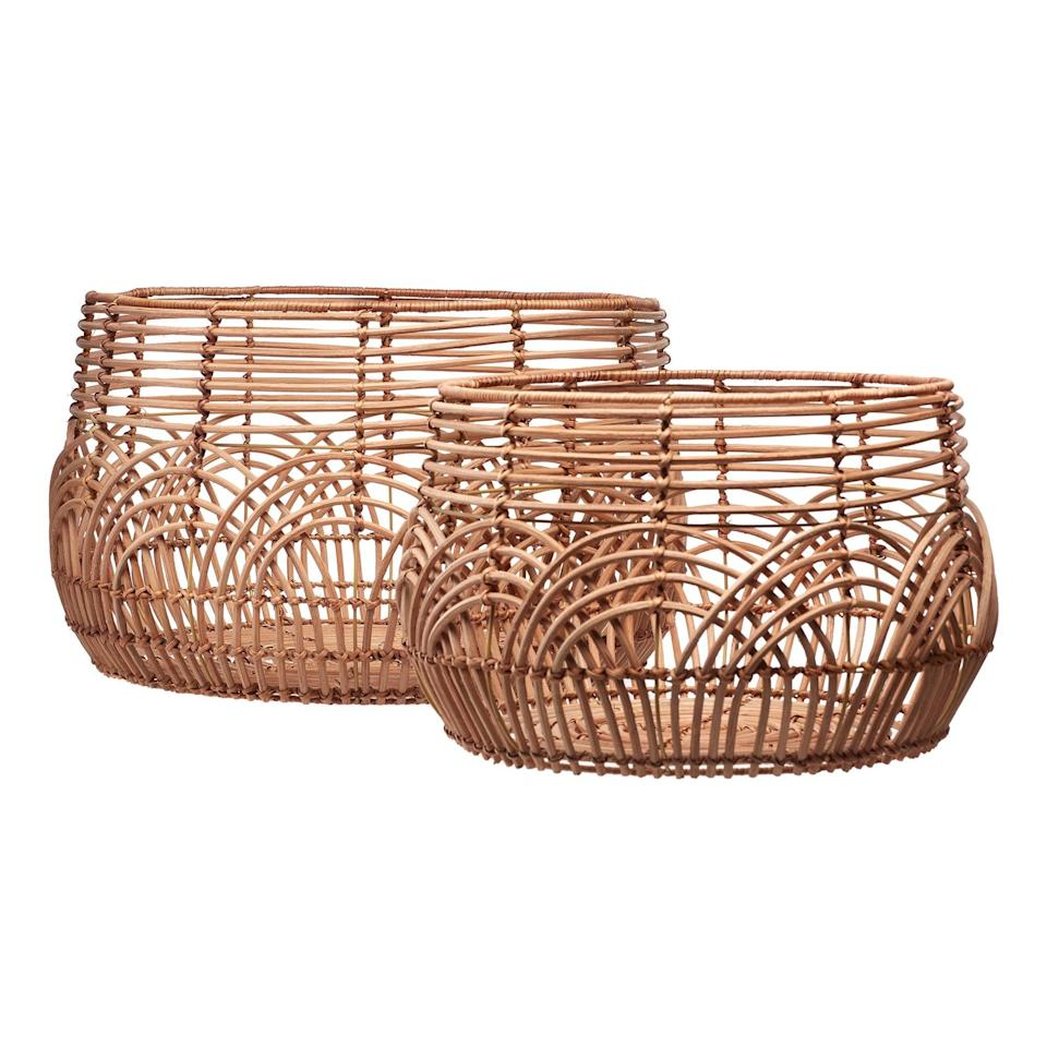 <p>This <span>Drew Barrymore Flower Home Natural Rattan Basket</span> ($45 for 2) is great for storage.</p>