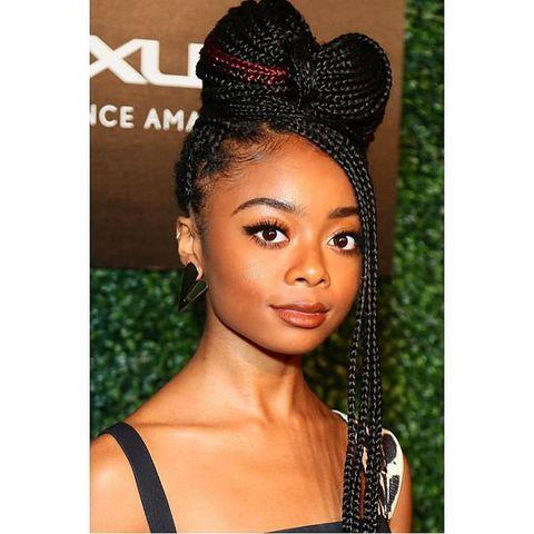"""<p>Pull a few braids over your bun, wrap the remaining ends around its base, and secure with a few bobby pins to create an adorable updo like actress Skai Jackson.</p><p><a href=""""https://www.instagram.com/p/BuK3P0kHCQ0/?utm_source=ig_embed&utm_campaign=loading"""" rel=""""nofollow noopener"""" target=""""_blank"""" data-ylk=""""slk:See the original post on Instagram"""" class=""""link rapid-noclick-resp"""">See the original post on Instagram</a></p>"""