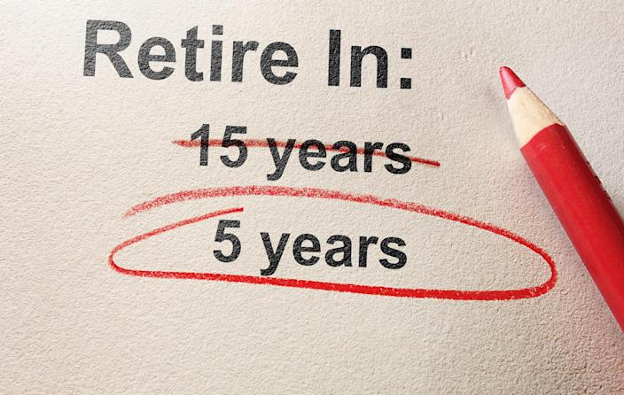 We see the words retire in followed by a colon and below it are the words 15 years and 5 years, and a red pencil that has crossed out the 15 years and circled the 5 years.