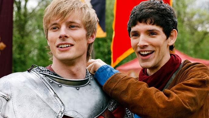"Bradley James as Prince Arthur and Colin Morgan as Merlin star in ""Merlin."""
