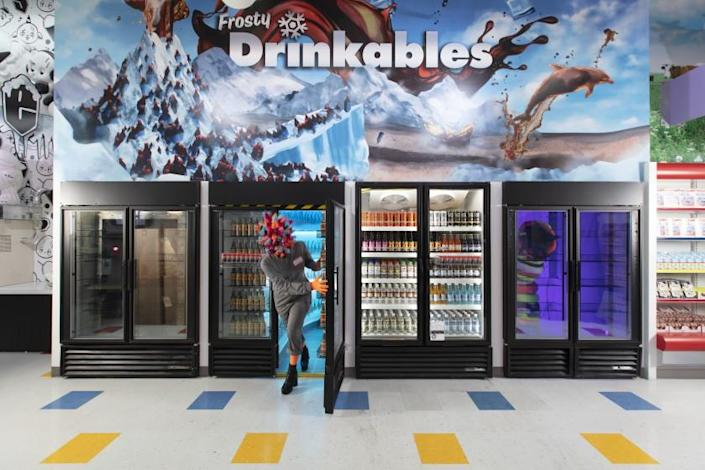 "The ""dringkables"" section in Meow Wolf's Las Vegas exhibit Omega Mart will lead guests into even more fanciful realms."