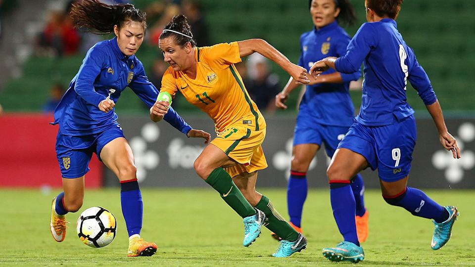 Lisa de Vanna played 150 games for the Matildas in a storied career, but has also raised serious questions over a potentially toxic culture within Australian football. (Photo by Paul Kane/Getty Images)