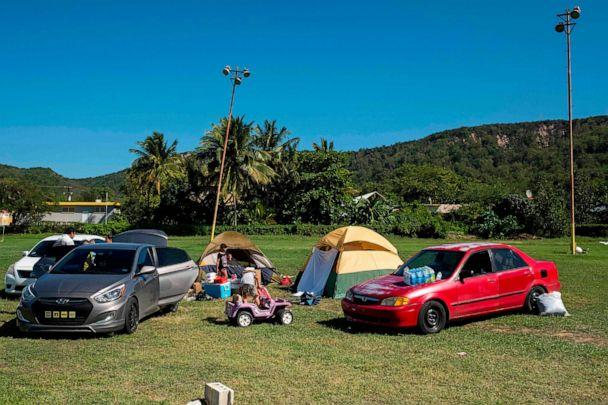 PHOTO: A camp is set up at a baseball field in Guanica, Puerto Rico on Jan. 11, 2020, after a powerful earthquake hit the island. (AFP via Getty Images)