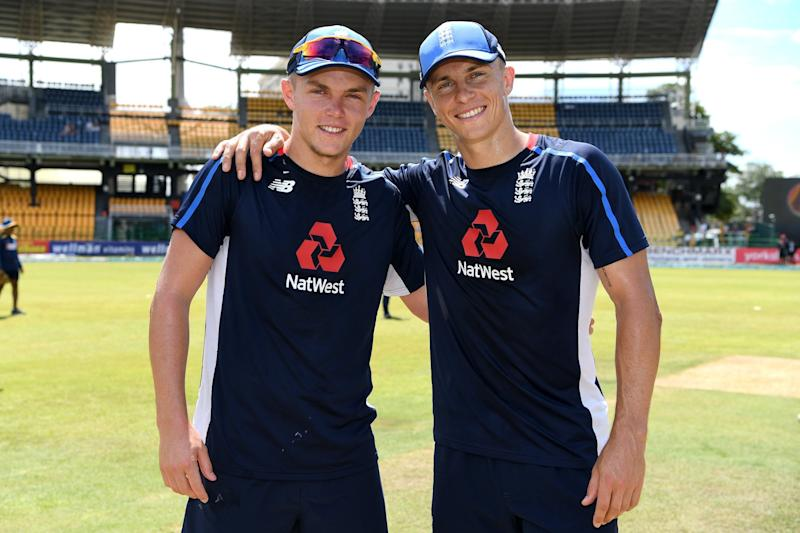 Dream day: Sam (left) and Tom Curran on Tuesday, before becoming the first brothers to play together for England since Ben and Adam Hollioake, who last did so in 1999: Getty Images