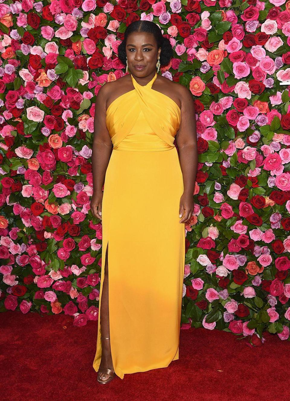 <p>The actress wore a yellow gown to the Tony Awards in New York.</p>