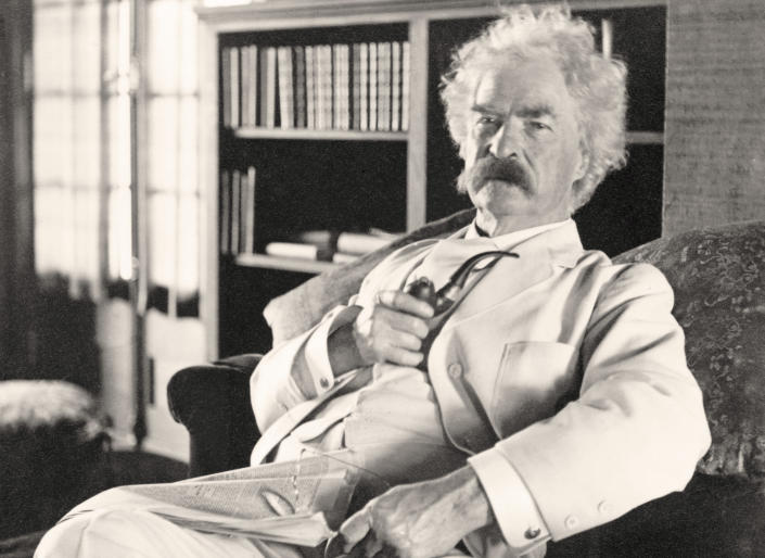 Samuel L. Clemens, known by the pen name Mark Twain, in a photo taken circa 1905. (Universal History Archive/Getty Images)