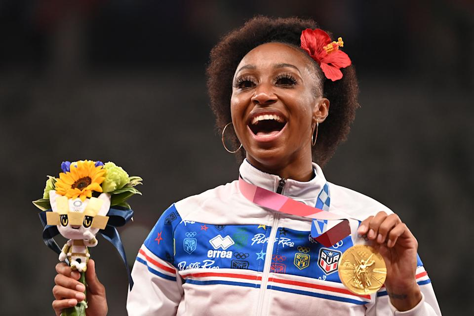 Jasmine Camacho-Quinn should be defined, in part, by her Olympic gold medal, not by who here brother is. (Photo by INA FASSBENDER/AFP via Getty Images)