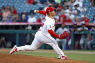 Los Angeles Angels starting pitcher Jose Suarez throws to a Texas Rangers batter during the first inning of a baseball game in Anaheim, Calif., Saturday, Sept. 4, 2021. (AP Photo/Ringo H.W. Chiu)