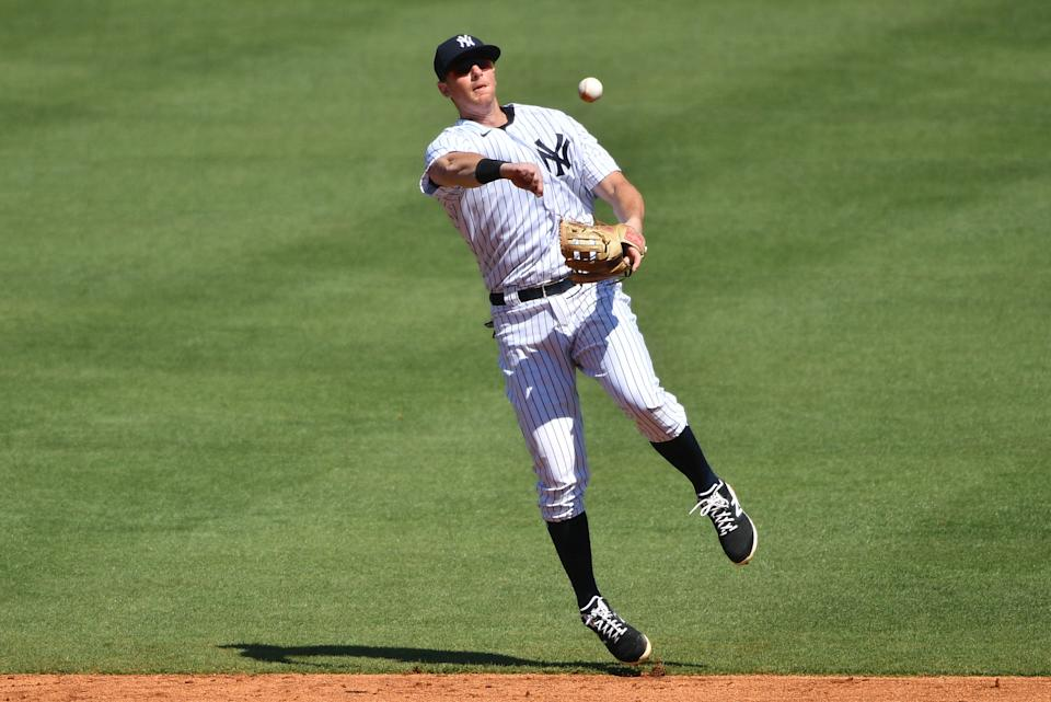 TAMPA, FLORIDA - MARCH 07: DJ LeMahieu #26 of the New York Yankees in action against the Philadelphia Phillies in a spring training game at George M. Steinbrenner Field  on March 07, 2021 in Tampa, Florida. (Photo by Mark Brown/Getty Images)