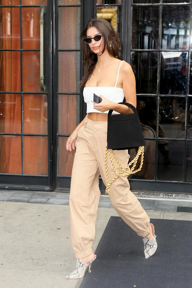 <p>Model Emily Ratajkowski wears the I.AM.GIA Cobain pants in tan. (Photo: Backgrid) </p>