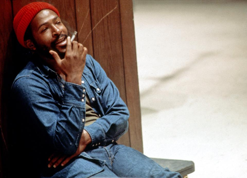 LOS ANGELES - 1973: Soul singer and songwriter Marvin Gaye at Golden West Studios in 1973 in Los Angeles, California. (Photo by Jim Britt/Michael Ochs Archive/Getty Images)