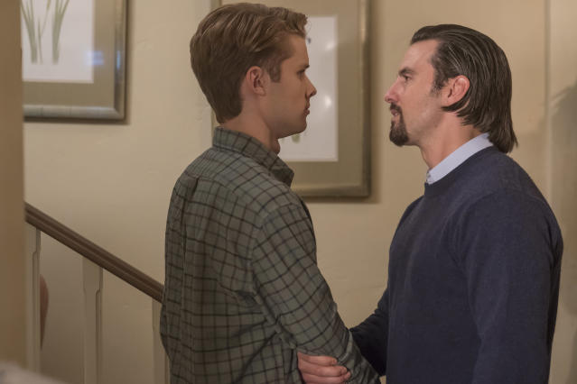 <p>Logan Shorter as Kevin and Milo Ventimiglia as Jack in NBC's <i>This Is Us</i>.<br> (Photo: Ron Batzdorff/NBC) </p>