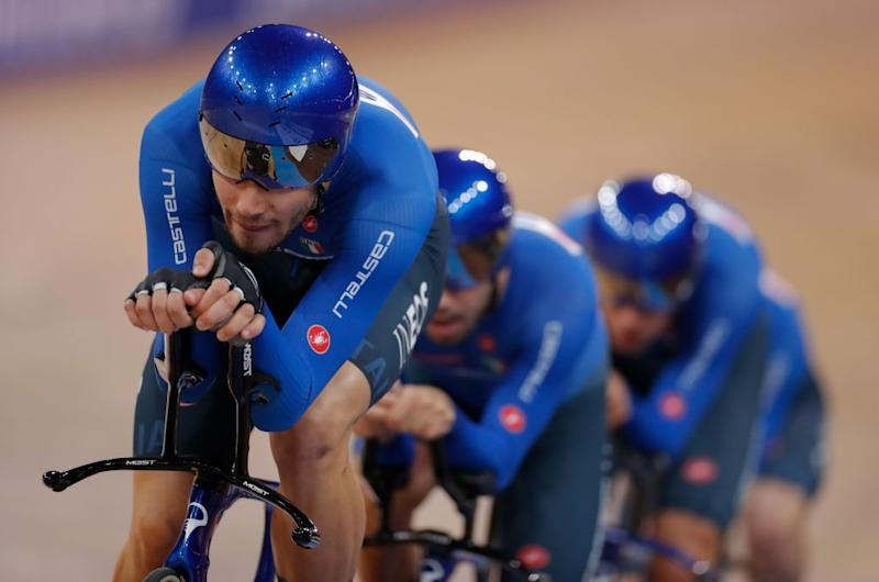 Italys team competes in the mens Team Pursuit Finals at the UCI track cycling World Championship at the velodrome in Berlin on February 27 2020 Photo by Odd ANDERSEN AFP Photo by ODD ANDERSENAFP via Getty Images