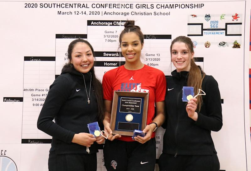 Seniors Destiny Reimers, Adara Powell and Kelsey Smallwood had put the work in before the coronavirus ended their dream of a fourth straight state title. (Photo courtesy of Christy Rutter)