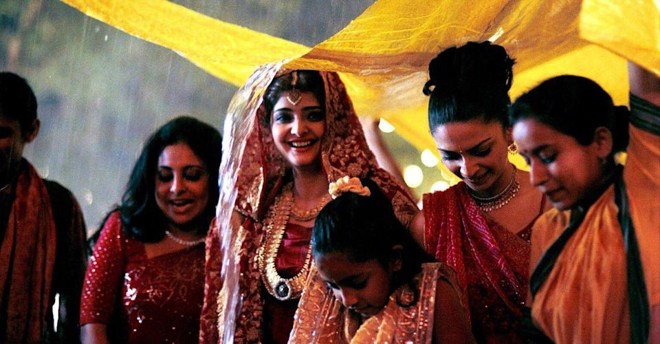 """<p><em>Monsoon Wedding </em>is a classic Bollywood romance about—you guessed it—a wedding and all the stress and drama it entails. At the core of this bustling movie is one woman's journey, away from one kind of love and towards another. But surrounding her are many relationships that seem real; as if director Mira Nair happened to gain access to the internal turmoil and joy of an actual wedding. </p><p><a class=""""link rapid-noclick-resp"""" href=""""https://www.amazon.com/Monsoon-Wedding-Naseeruddin-Shah/dp/B07PFL59F4?tag=syn-yahoo-20&ascsubtag=%5Bartid%7C10072.g.33383086%5Bsrc%7Cyahoo-us"""" rel=""""nofollow noopener"""" target=""""_blank"""" data-ylk=""""slk:Watch Now"""">Watch Now</a></p>"""