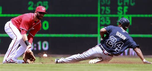 Washington Nationals second baseman Danny Espinosa, left, waits for the throw as Atlanta Braves' Michael Bourn safely steals second during the first inning of a baseball game on Sunday, June 3, 2012, in Washington. (AP Photo/Alex Brandon)