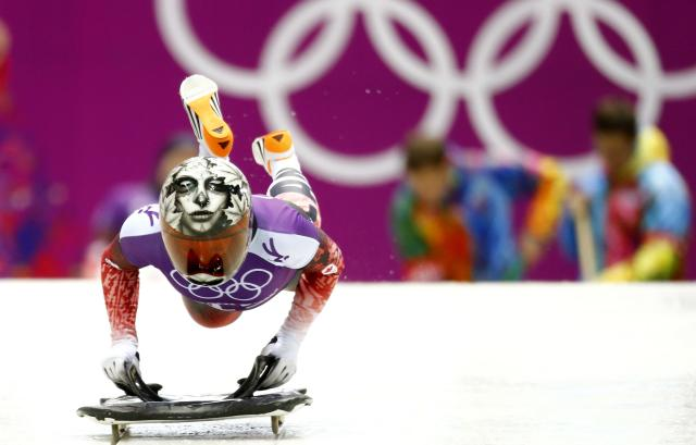 Canada's Sarah Reid starts during a women's skeleton training at the Sanki sliding center in Rosa Khutor, a venue for the 2014 Sochi Winter Olympics, near Sochi, February 10, 2014. REUTERS/Arnd Wiegmann (RUSSIA - Tags: SPORT SKELETON OLYMPICS)