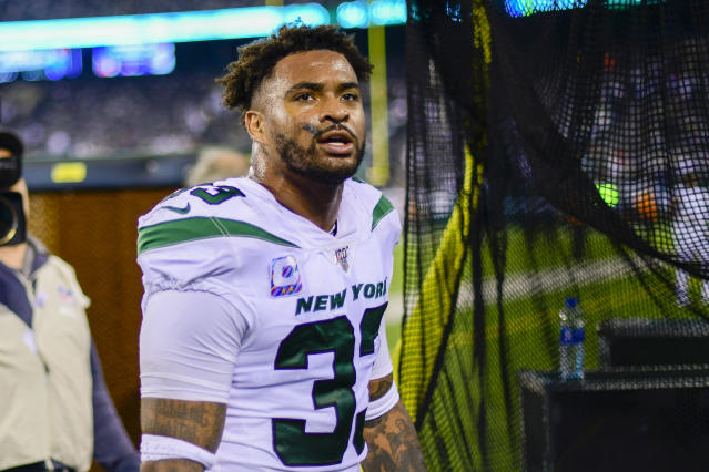 "Jamal Adams says he didn't demand a trade and that Jets management ""went behind my back"" in trade talks. (Steven Ryan/Getty)"