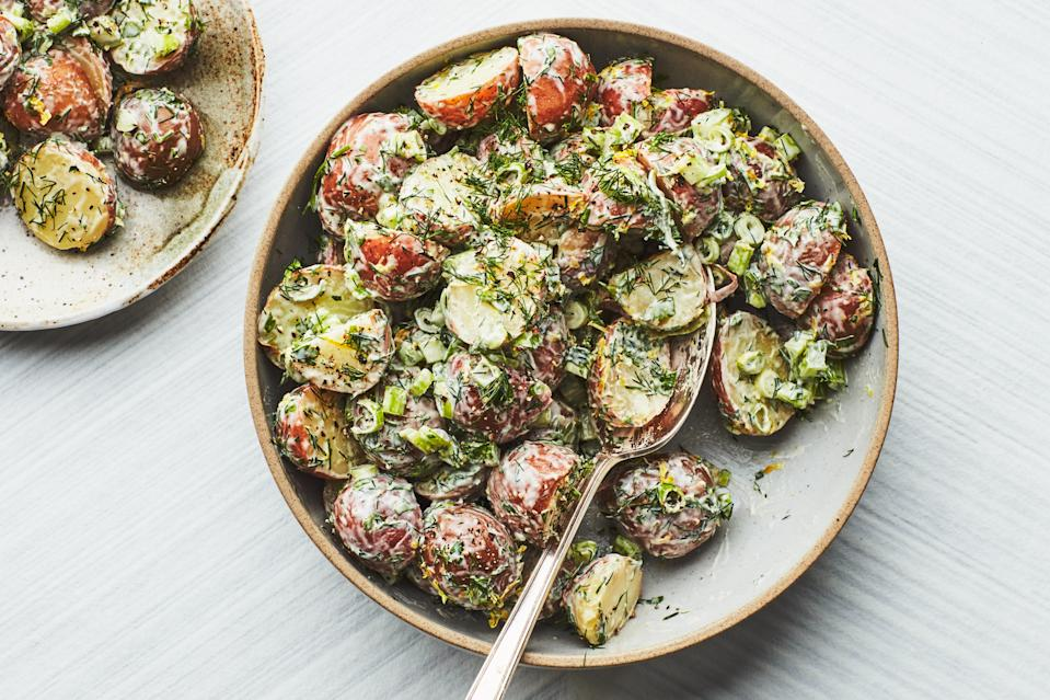 """Because they are lower in starch than Yukon Golds or russets, baby red potatoes hold their shape when tossed. <a href=""""https://www.epicurious.com/recipes/food/views/creamy-potato-salad-with-lemon-and-fresh-herbs-238804?mbid=synd_yahoo_rss"""" rel=""""nofollow noopener"""" target=""""_blank"""" data-ylk=""""slk:See recipe."""" class=""""link rapid-noclick-resp"""">See recipe.</a>"""