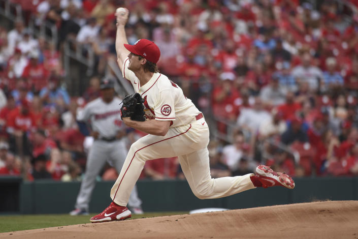 St. Louis Cardinals starting pitcher Jake Woodford throws during the first inning of a baseball game against the Minnesota Twins on Saturday, July 31, 2021, in St. Louis. (AP Photo/Joe Puetz)