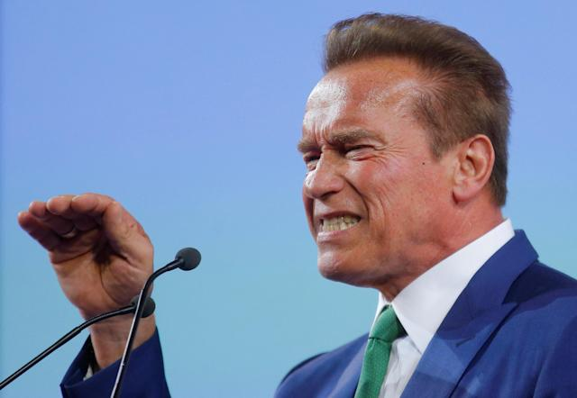 Former California Governor Arnold Schwarzenegger delivers a speech at the Austrian World Summit on climate change in Vienna, Austria, June 20, 2017. (Photo: Heinz-Peter Bader/Reuters)