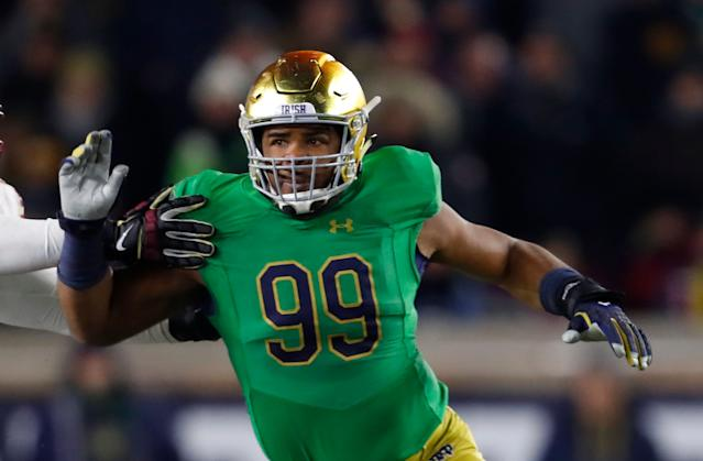 Notre Dame defensive lineman Jerry Tillery has first-round talent. (AP Photo)