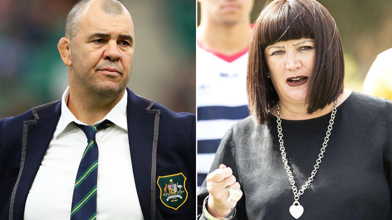 Michael Cheika and Raelene Castle, pictured here at the Rugby World Cup.