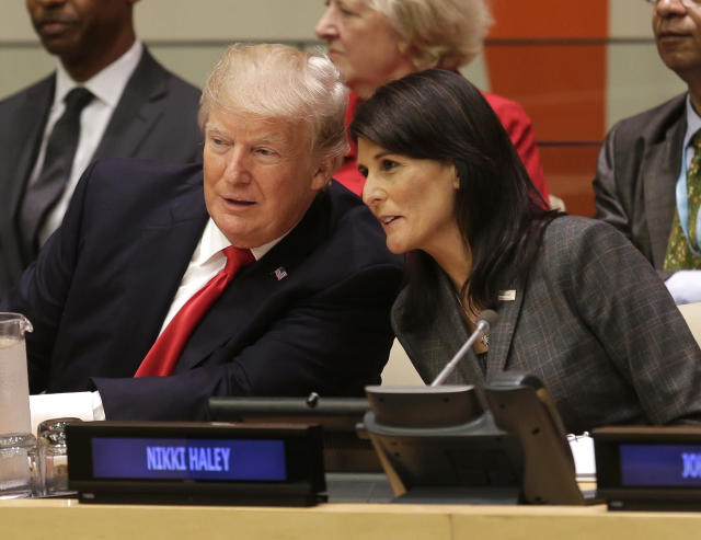<p>United States President Donald Trump speaks with U.S. Ambassador to the United Nations Nikki Haley before a meeting during the United Nations General Assembly at U.N. headquarters, Monday, Sept. 18, 2017. (Photo: Seth Wenig/AP) </p>